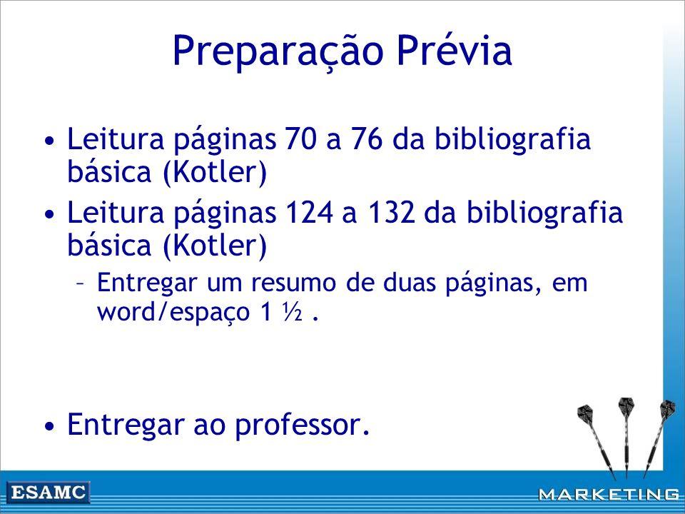 Preparação Prévia Leitura páginas 70 a 76 da bibliografia básica (Kotler) Leitura páginas 124 a 132 da bibliografia básica (Kotler)