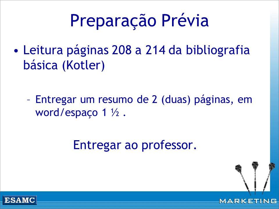 Preparação Prévia Leitura páginas 208 a 214 da bibliografia básica (Kotler) Entregar um resumo de 2 (duas) páginas, em word/espaço 1 ½ .
