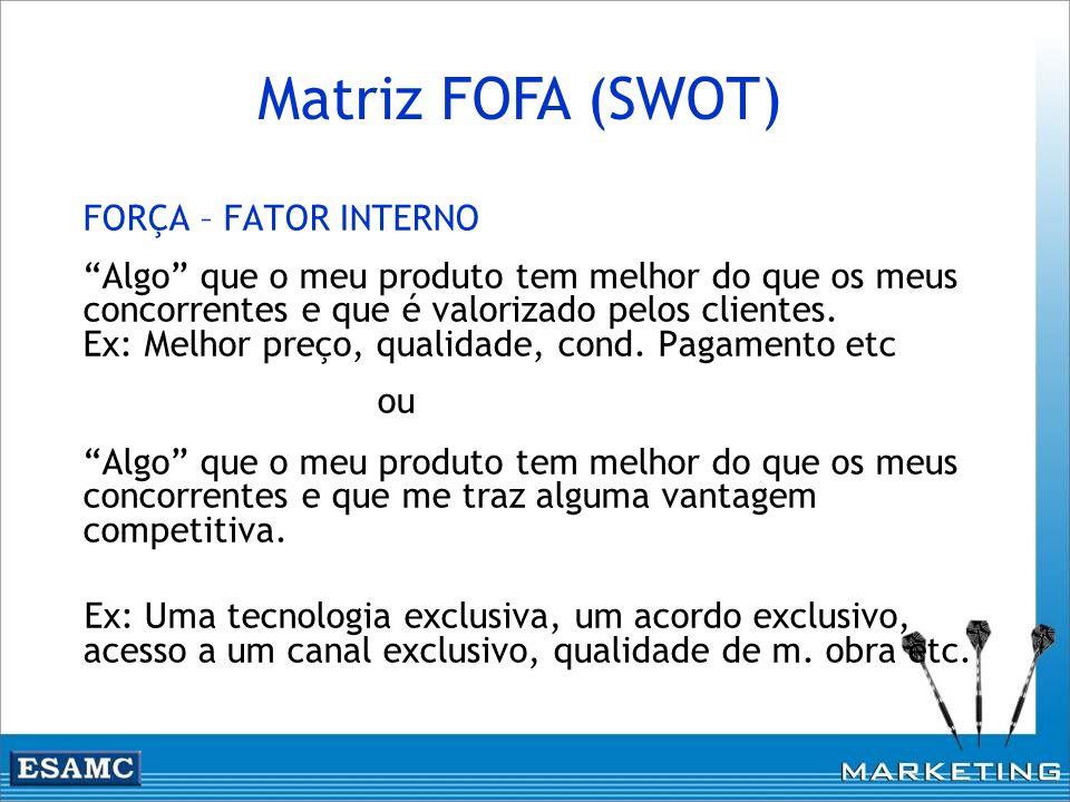 Matriz FOFA (SWOT) FORÇA – FATOR INTERNO