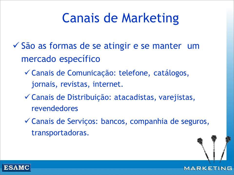 Canais de Marketing São as formas de se atingir e se manter um mercado específico.