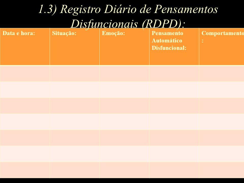 1.3) Registro Diário de Pensamentos Disfuncionais (RDPD):