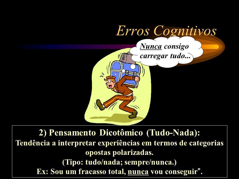 Erros Cognitivos 2) Pensamento Dicotômico (Tudo-Nada):