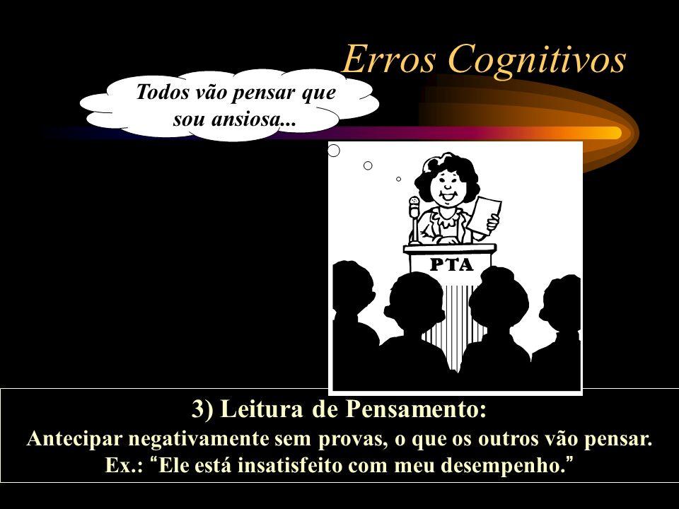 Erros Cognitivos 3) Leitura de Pensamento: Todos vão pensar que