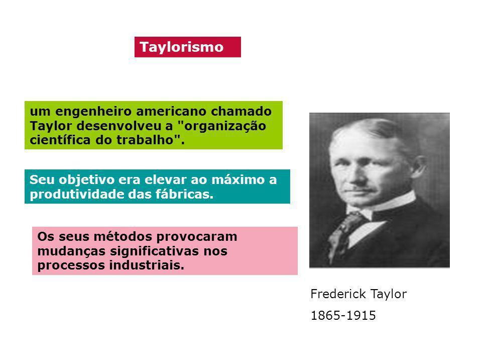 Taylorismo um engenheiro americano chamado Taylor desenvolveu a organização científica do trabalho .