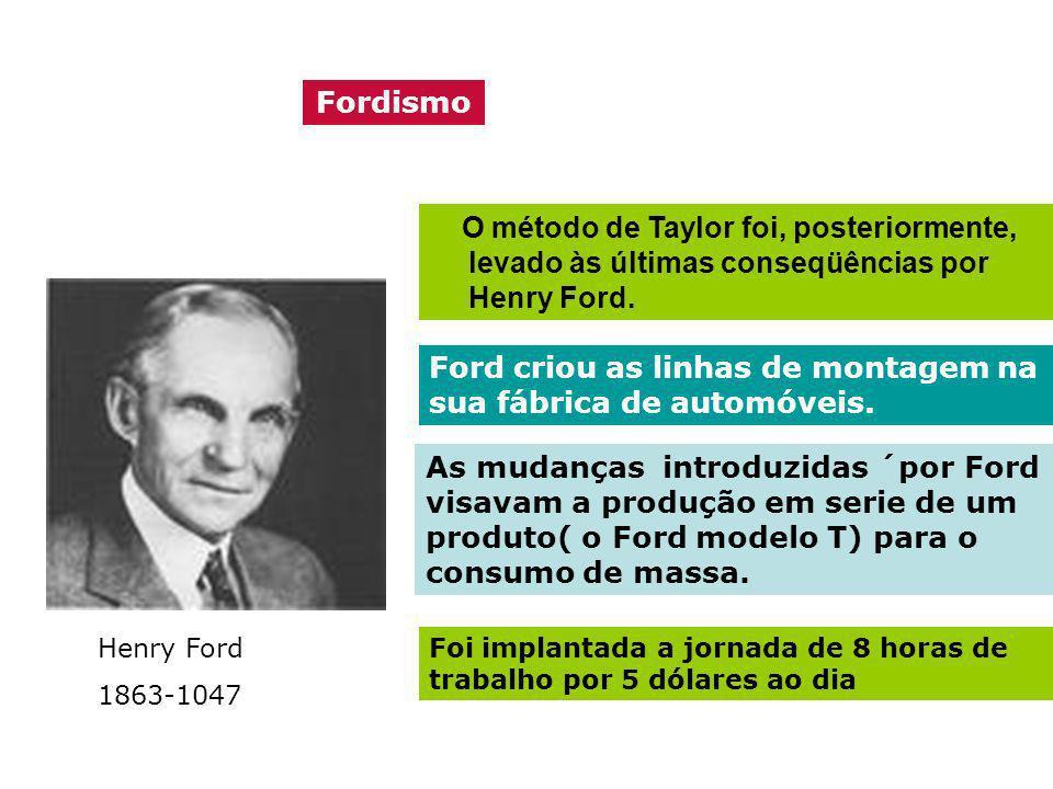 Ford criou as linhas de montagem na sua fábrica de automóveis.