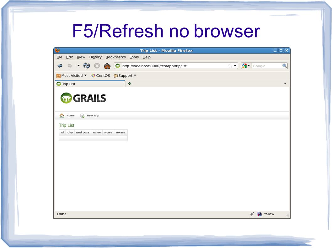 F5/Refresh no browser