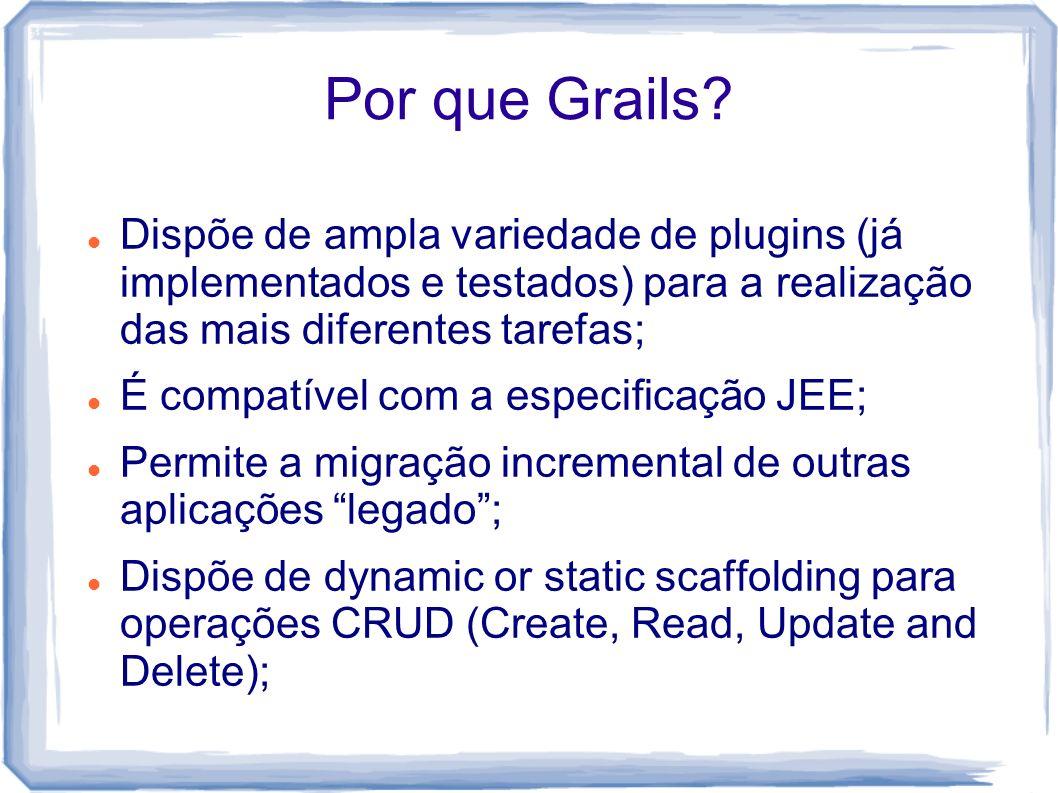 Por que Grails Dispõe de ampla variedade de plugins (já implementados e testados) para a realização das mais diferentes tarefas;