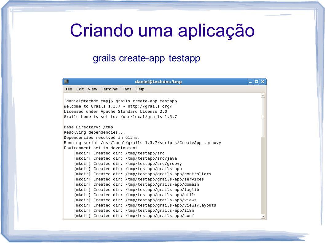 Criando uma aplicação grails create-app testapp