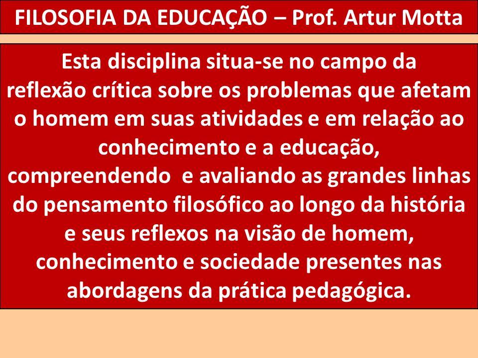 FILOSOFIA DA EDUCAÇÃO – Prof. Artur Motta