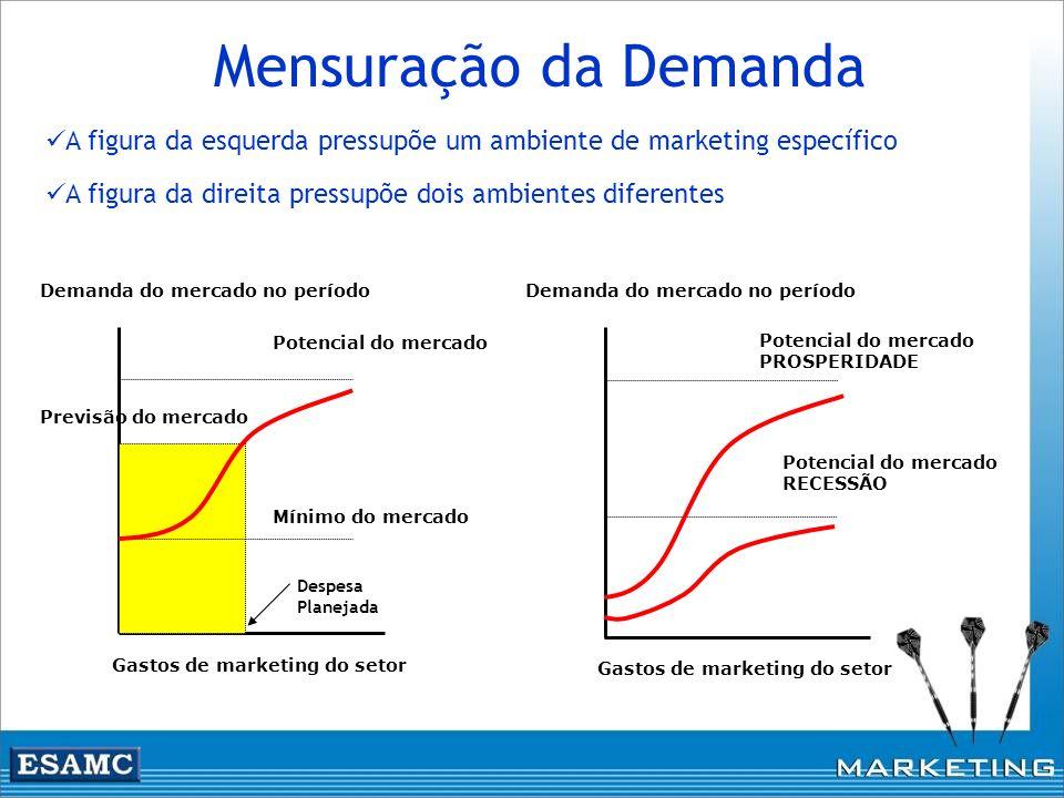 Mensuração da Demanda A figura da esquerda pressupõe um ambiente de marketing específico. A figura da direita pressupõe dois ambientes diferentes.