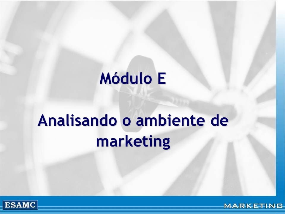Módulo E Analisando o ambiente de marketing