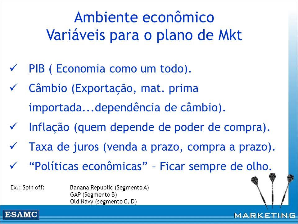 Ambiente econômico Variáveis para o plano de Mkt