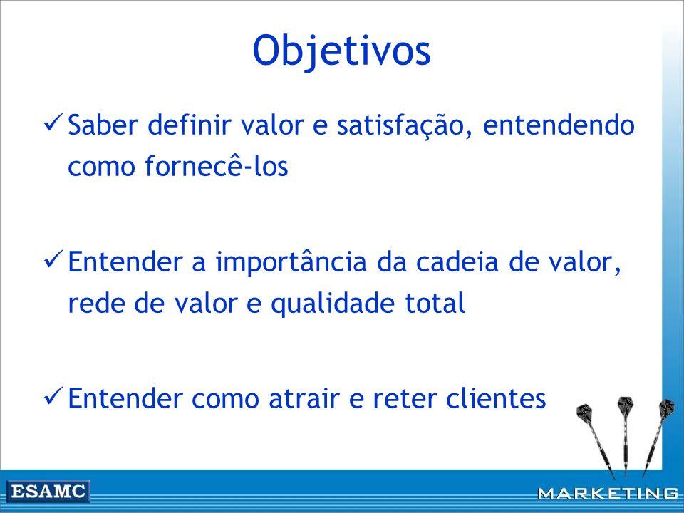Objetivos Saber definir valor e satisfação, entendendo como fornecê-los. Entender a importância da cadeia de valor, rede de valor e qualidade total.