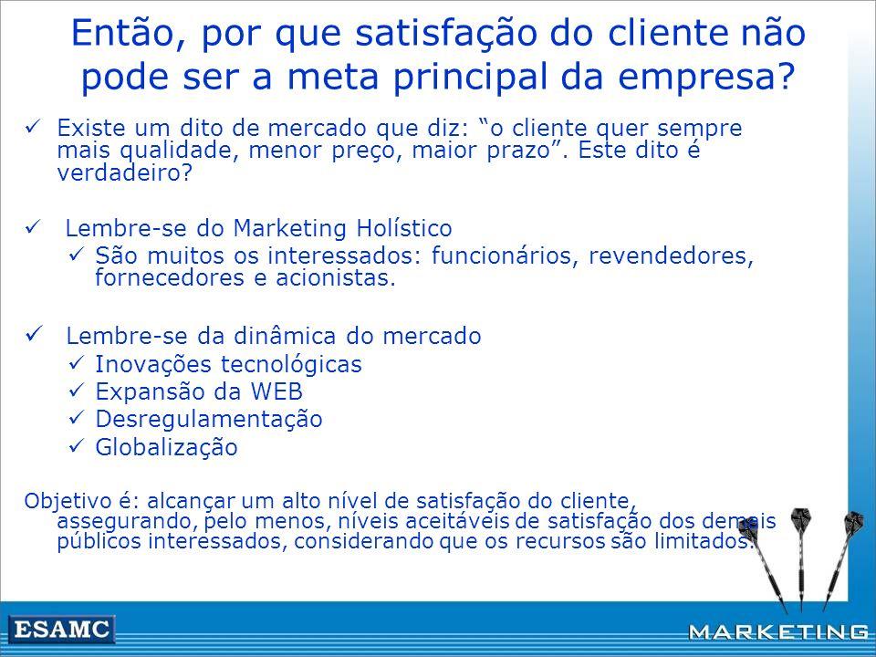 Então, por que satisfação do cliente não pode ser a meta principal da empresa