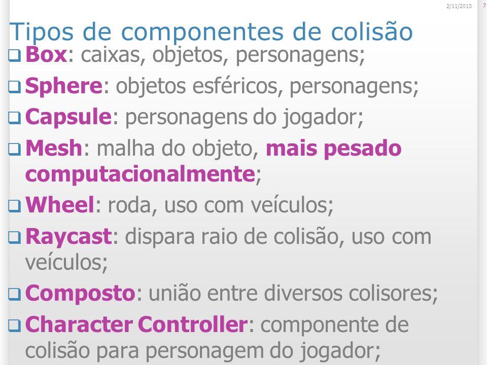 Tipos de componentes de colisão