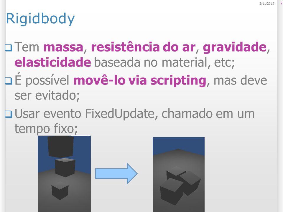 Rigidbody23/03/2017. Tem massa, resistência do ar, gravidade, elasticidade baseada no material, etc;