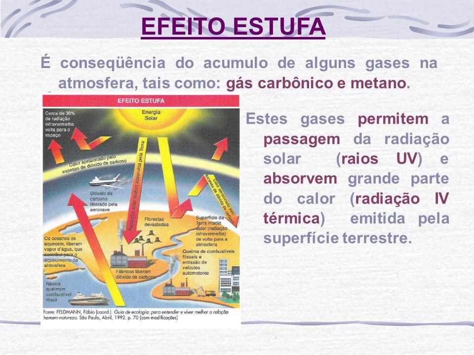 EFEITO ESTUFA É conseqüência do acumulo de alguns gases na atmosfera, tais como: gás carbônico e metano.
