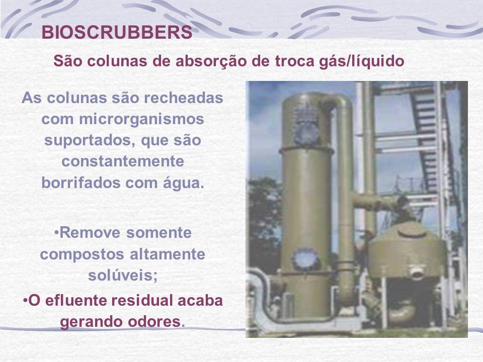 BIOSCRUBBERS São colunas de absorção de troca gás/líquido