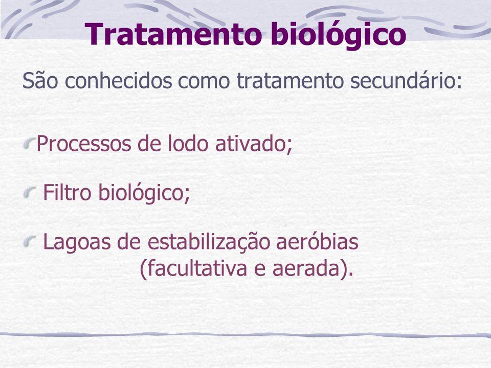 Tratamento biológico São conhecidos como tratamento secundário: