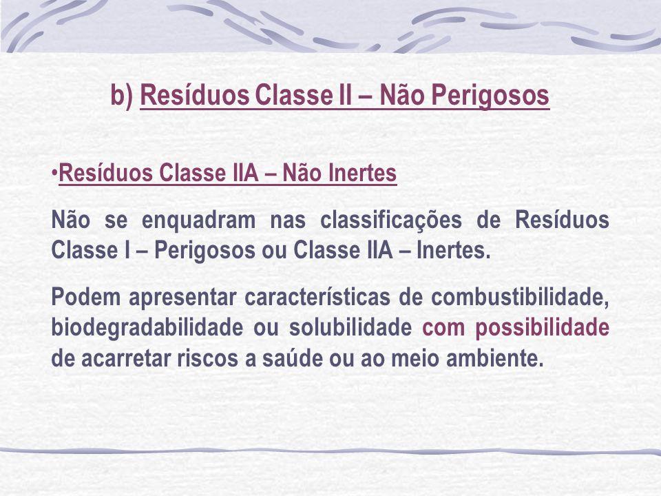 b) Resíduos Classe II – Não Perigosos