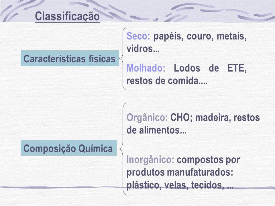 Classificação Seco: papéis, couro, metais, vidros...