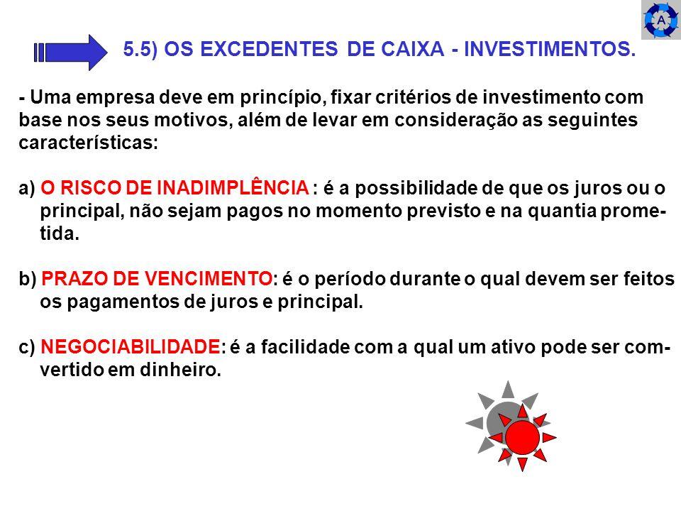 5.5) OS EXCEDENTES DE CAIXA - INVESTIMENTOS.