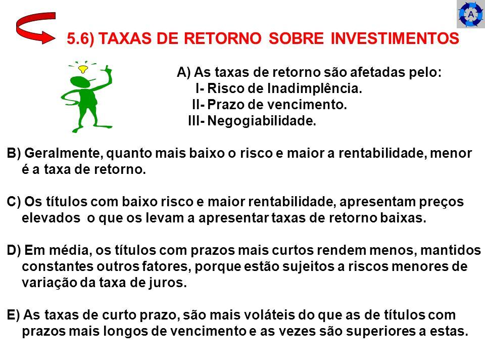 5.6) TAXAS DE RETORNO SOBRE INVESTIMENTOS