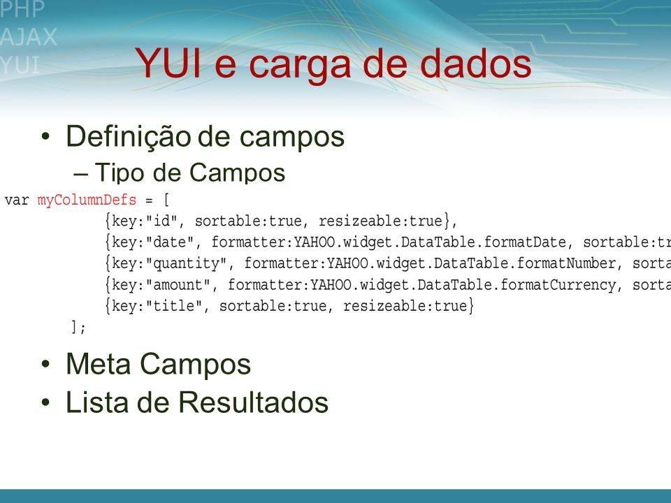 YUI e carga de dados Definição de campos Meta Campos