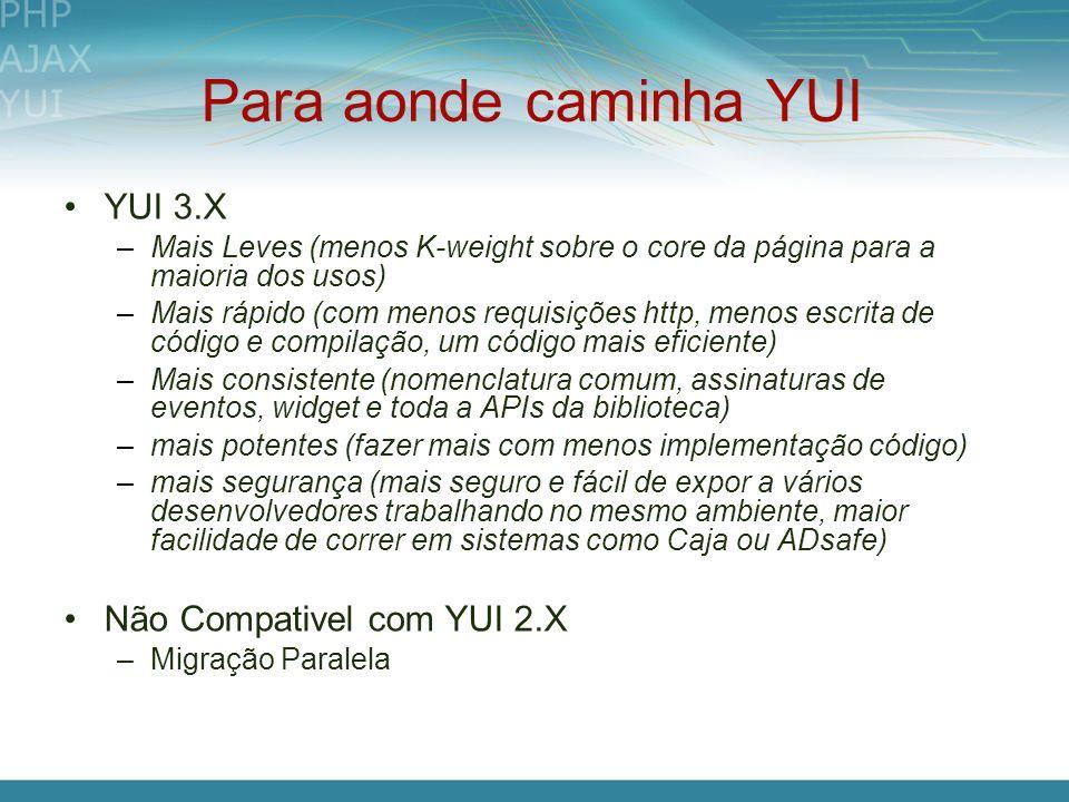 Para aonde caminha YUI YUI 3.X Não Compativel com YUI 2.X