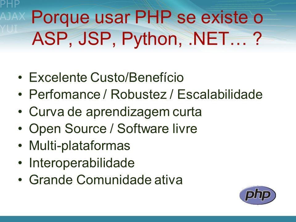 Porque usar PHP se existe o ASP, JSP, Python, .NET…