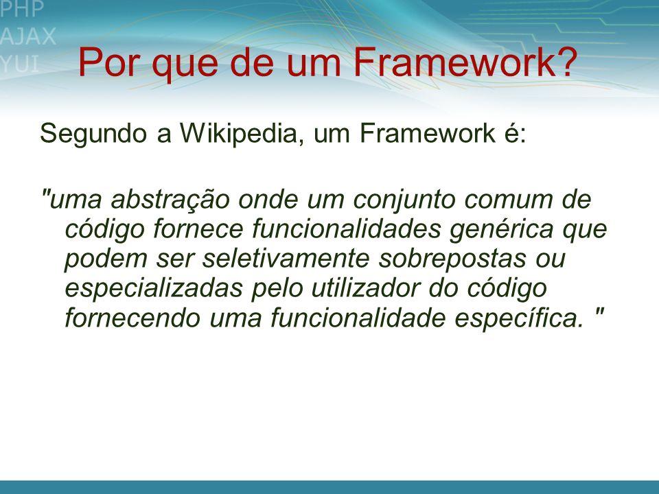 Por que de um Framework Segundo a Wikipedia, um Framework é: