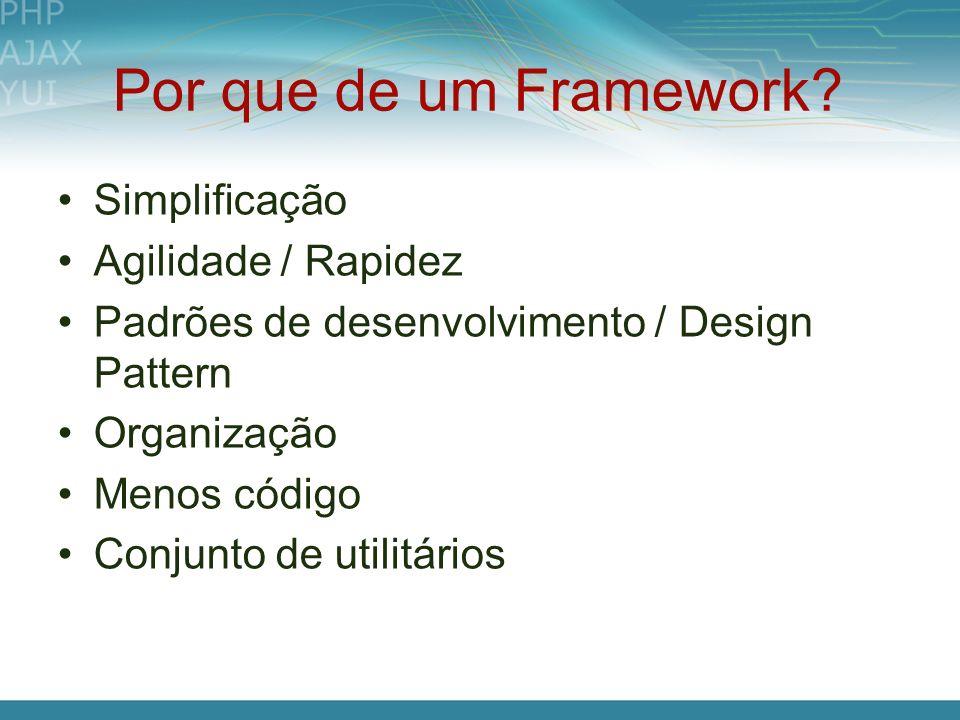 Por que de um Framework Simplificação Agilidade / Rapidez