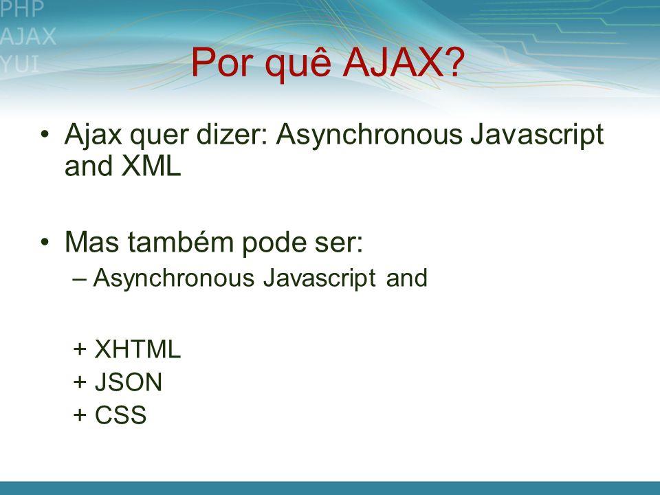 Por quê AJAX Ajax quer dizer: Asynchronous Javascript and XML