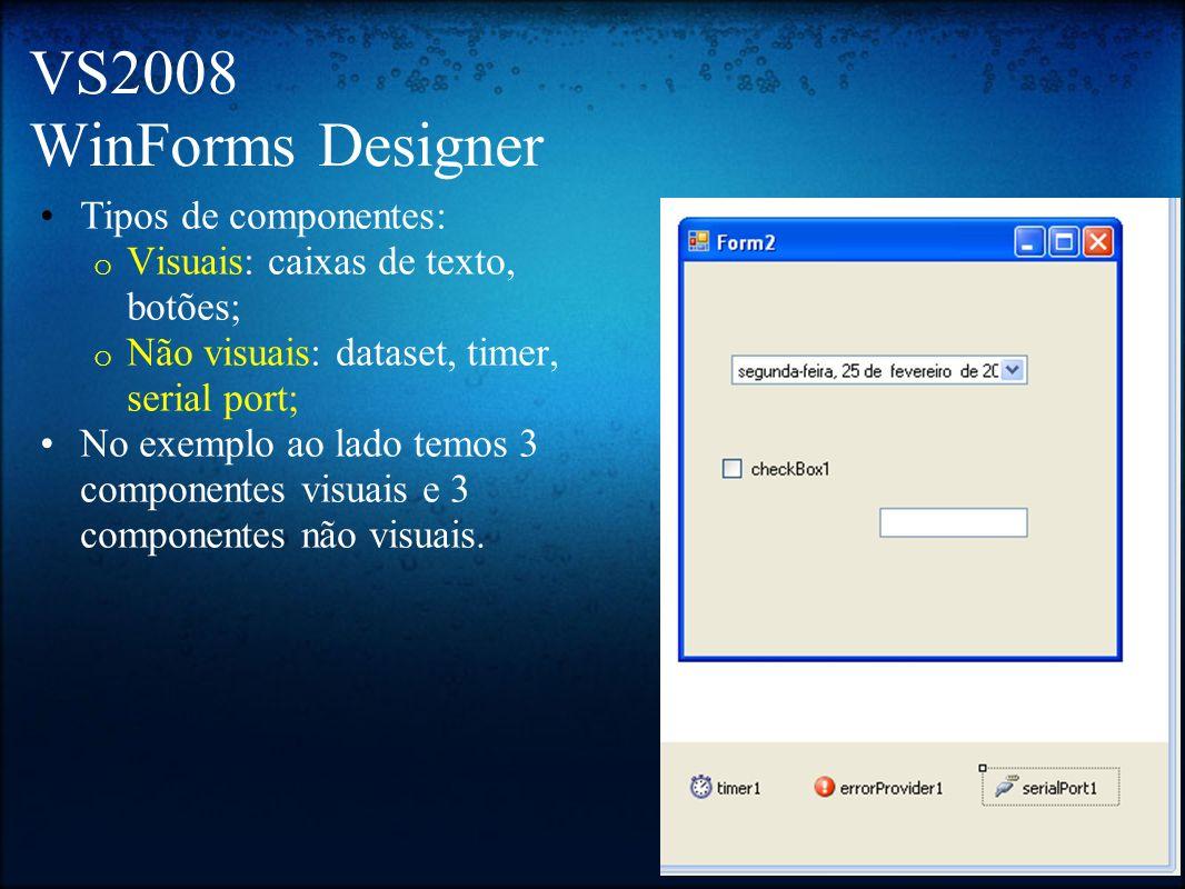 VS2008 WinForms Designer Tipos de componentes: