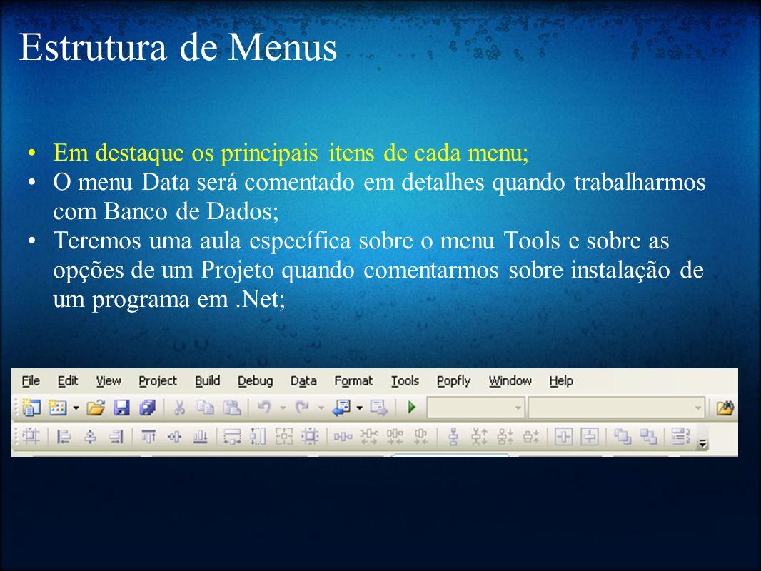 Estrutura de Menus Em destaque os principais itens de cada menu;