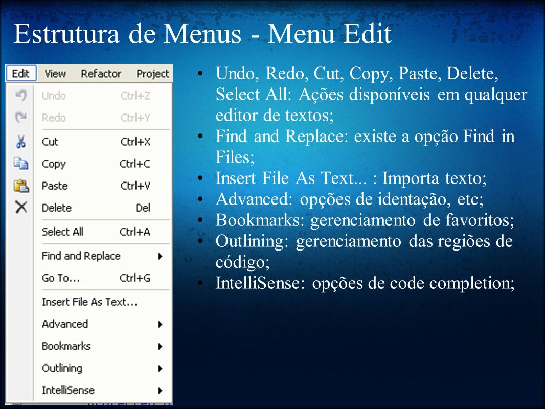 Estrutura de Menus - Menu Edit