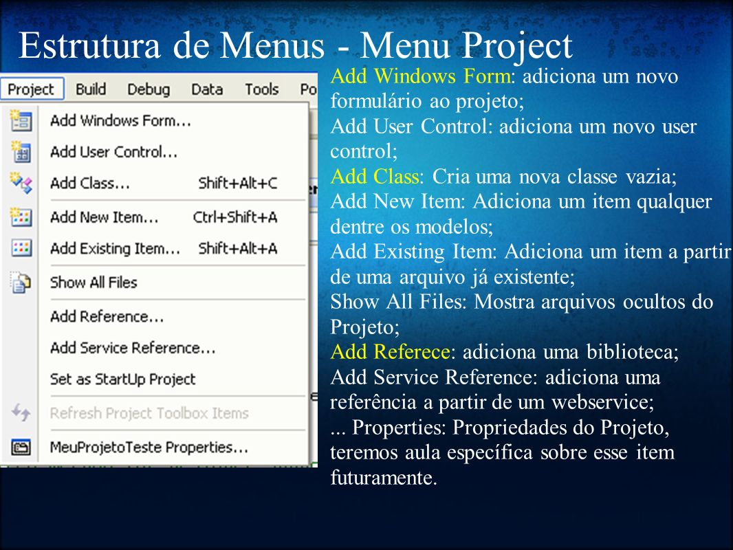 Estrutura de Menus - Menu Project