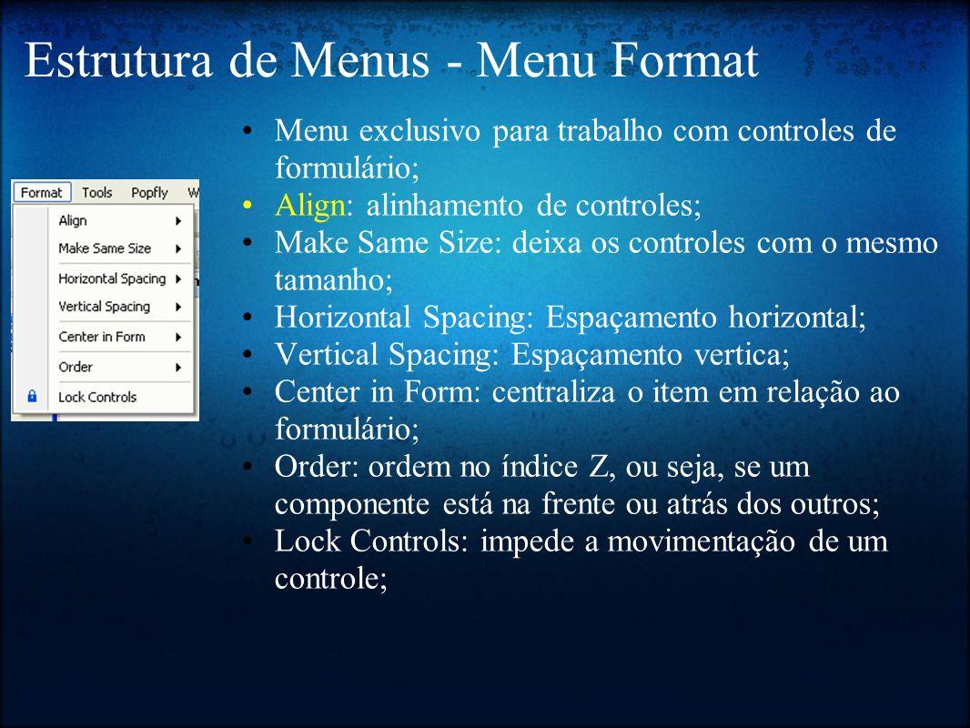 Estrutura de Menus - Menu Format