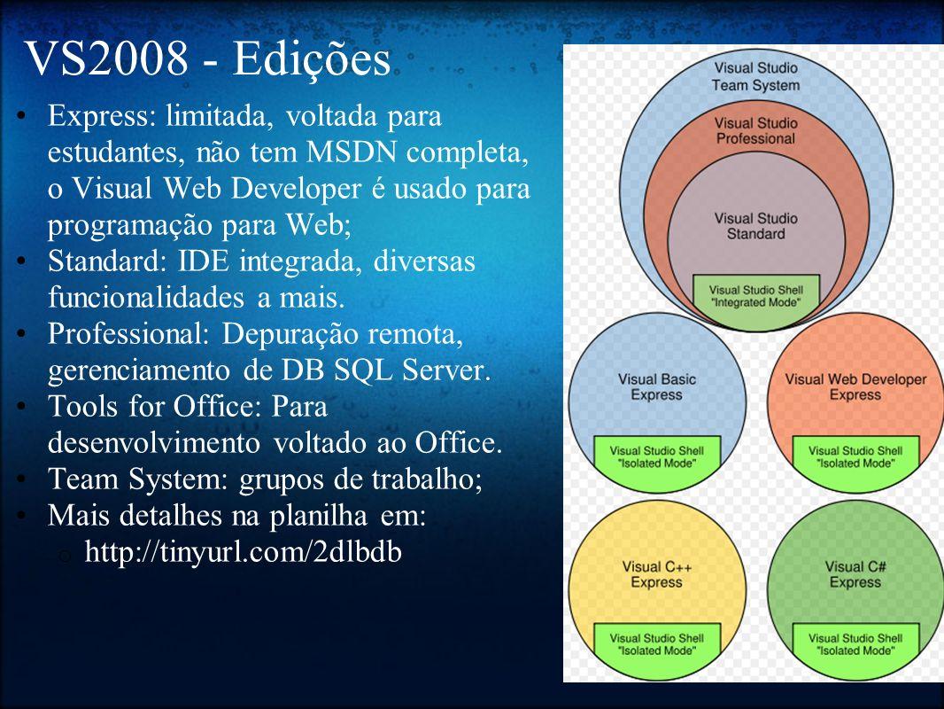 VS2008 - Edições Express: limitada, voltada para estudantes, não tem MSDN completa, o Visual Web Developer é usado para programação para Web;