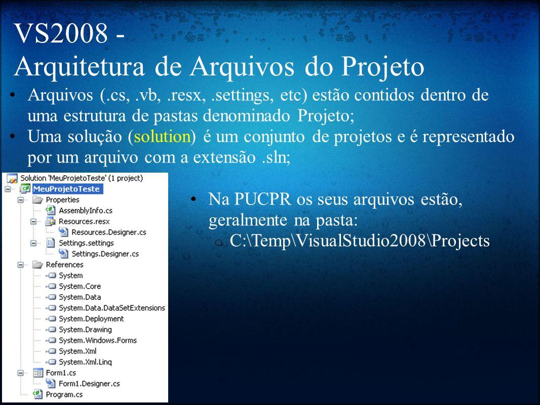 VS2008 - Arquitetura de Arquivos do Projeto