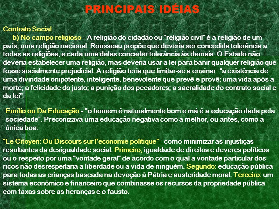 PRINCIPAIS IDÉIAS Contrato Social