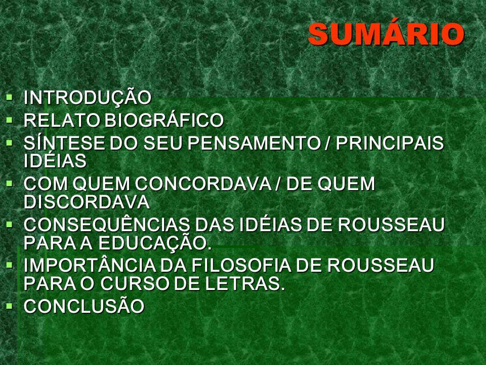 SUMÁRIO INTRODUÇÃO RELATO BIOGRÁFICO