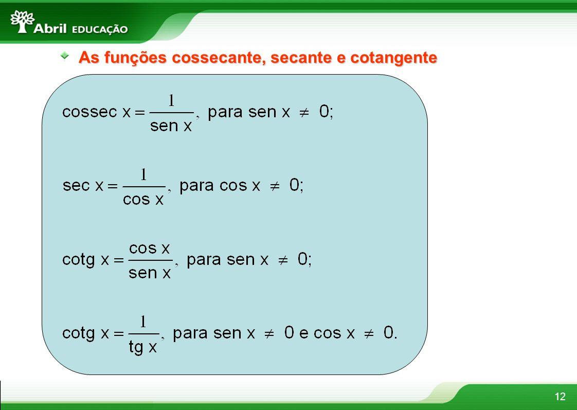 As funções cossecante, secante e cotangente