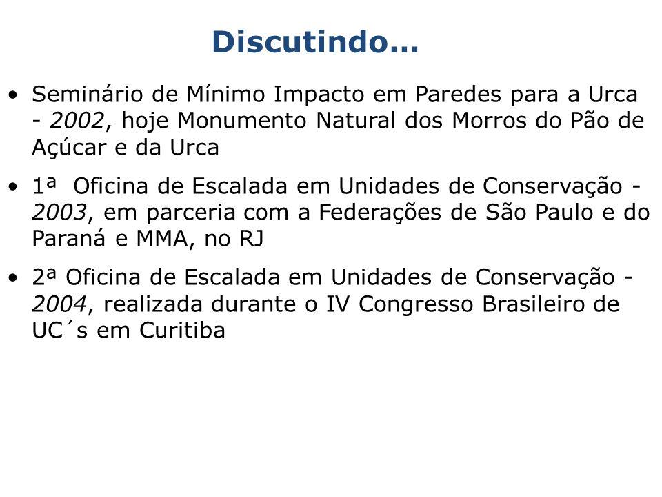 Discutindo… Seminário de Mínimo Impacto em Paredes para a Urca - 2002, hoje Monumento Natural dos Morros do Pão de Açúcar e da Urca.