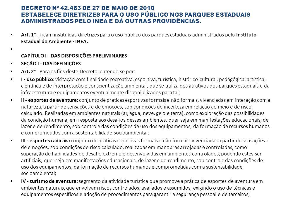 DECRETO Nº 42.483 DE 27 DE MAIO DE 2010 ESTABELECE DIRETRIZES PARA O USO PÚBLICO NOS PARQUES ESTADUAIS ADMINISTRADOS PELO INEA E DÁ OUTRAS PROVIDÊNCIAS.
