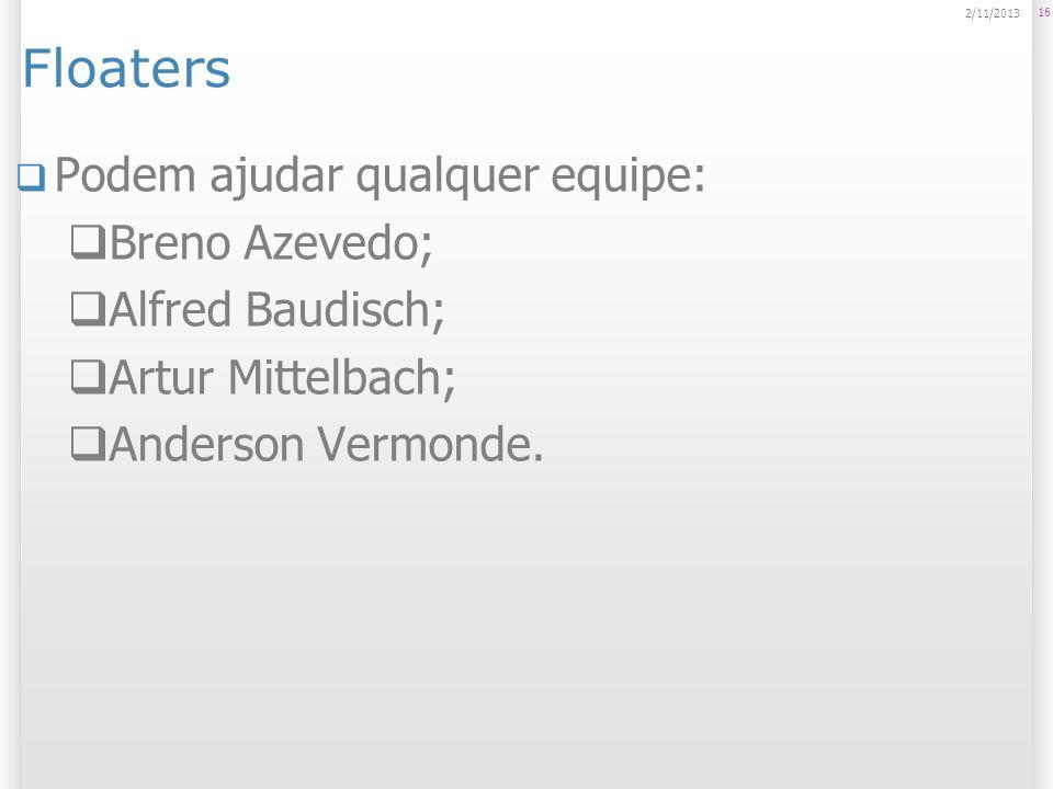 Floaters Podem ajudar qualquer equipe: Breno Azevedo; Alfred Baudisch;