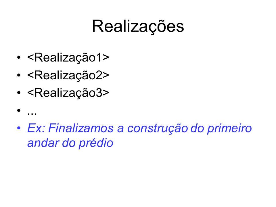 Realizações <Realização1> <Realização2>