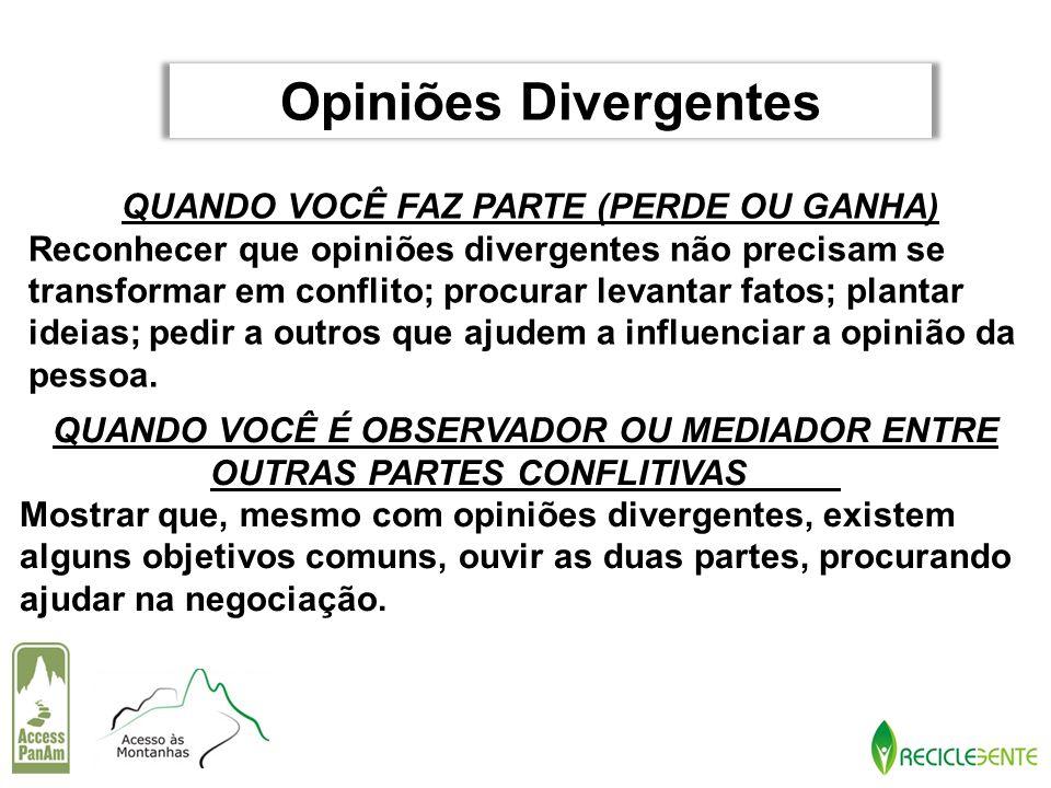 Opiniões Divergentes QUANDO VOCÊ FAZ PARTE (PERDE OU GANHA)