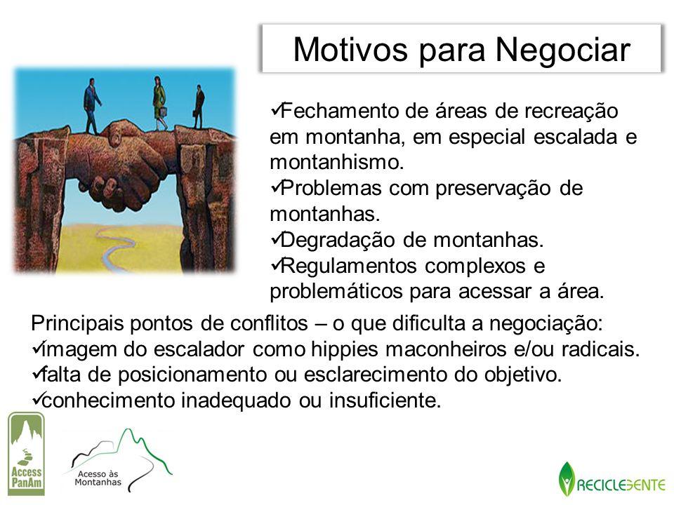 Motivos para Negociar Fechamento de áreas de recreação em montanha, em especial escalada e montanhismo.