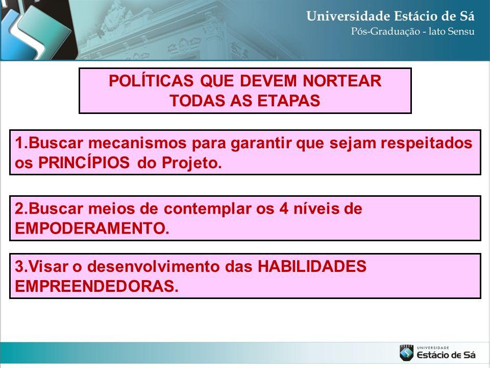 POLÍTICAS QUE DEVEM NORTEAR TODAS AS ETAPAS